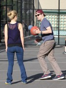 Olivia Wilde - booty in jeans playing basketball in NY 05/20/12