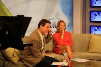 KATIE COURIC - behind the scenes candid - legs